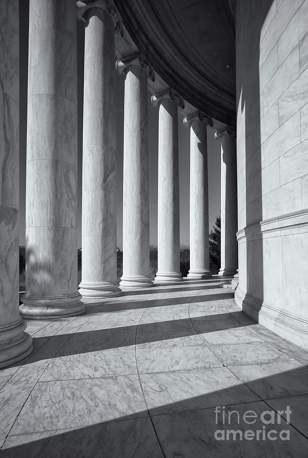 Clarence Holmes Photograph - Jefferson Memorial Columns And Shadows by Clarence Holmes