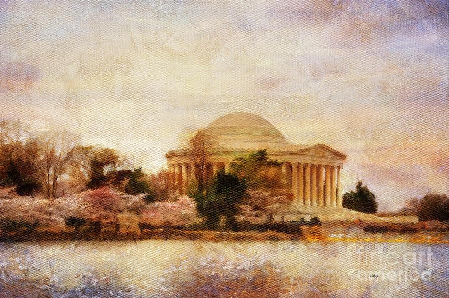 Jefferson Memorial Digital Art - Jefferson Memorial Just Past Dawn by Lois Bryan