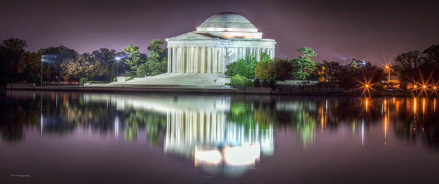 Hdr Photograph - Jefferson Memorial, Night by Ross Henton