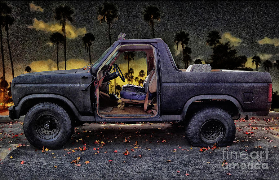 Bronco Digital Art - Jeffs Jeep And The Fallen Leaves by Bob Winberry