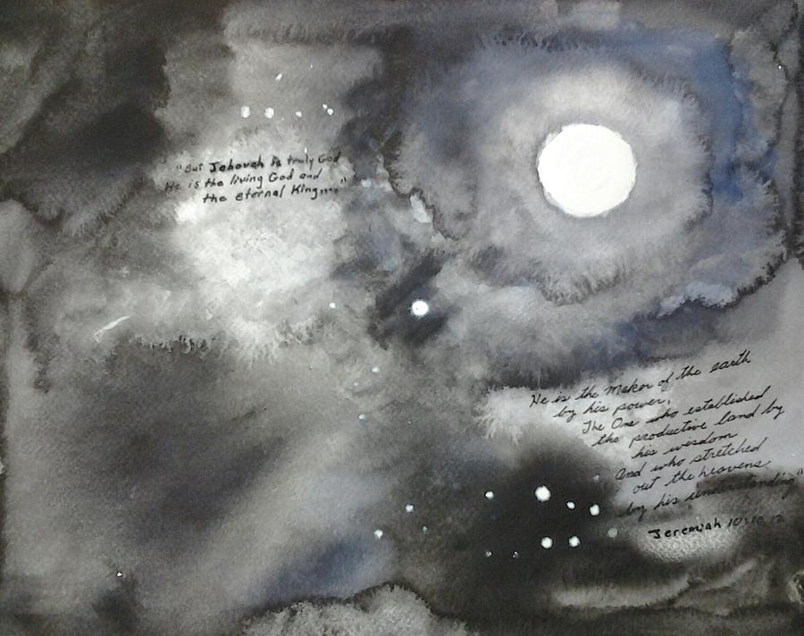 Watercolor Painting - Jehovah Stretched Out the Heavens by B L Qualls