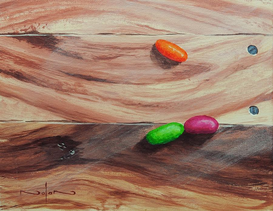 Acrylic Painting - Jelly Beans On Wood by Nolan Clark
