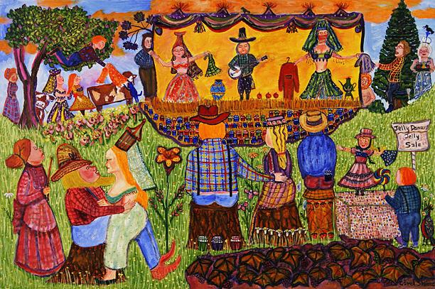 Naif Painting - Jelly Dancers by Carol Shumas