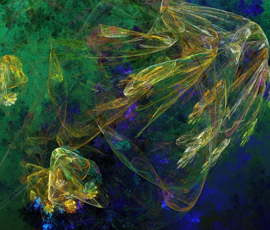 Fantasy Digital Art - Jelly Fish  Diving The Reef Series 1 by David Lane