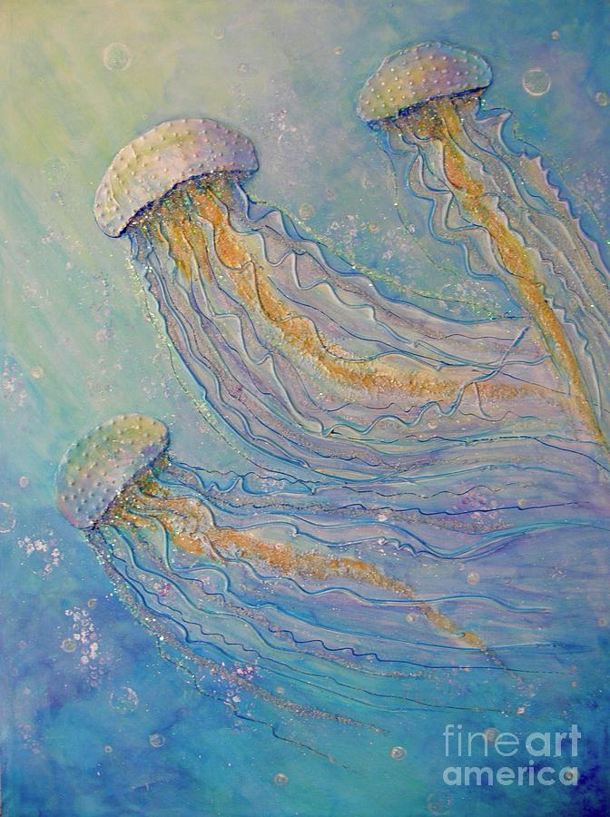 Sparkles Painting - Jellyfish Dance by Midge Pippel