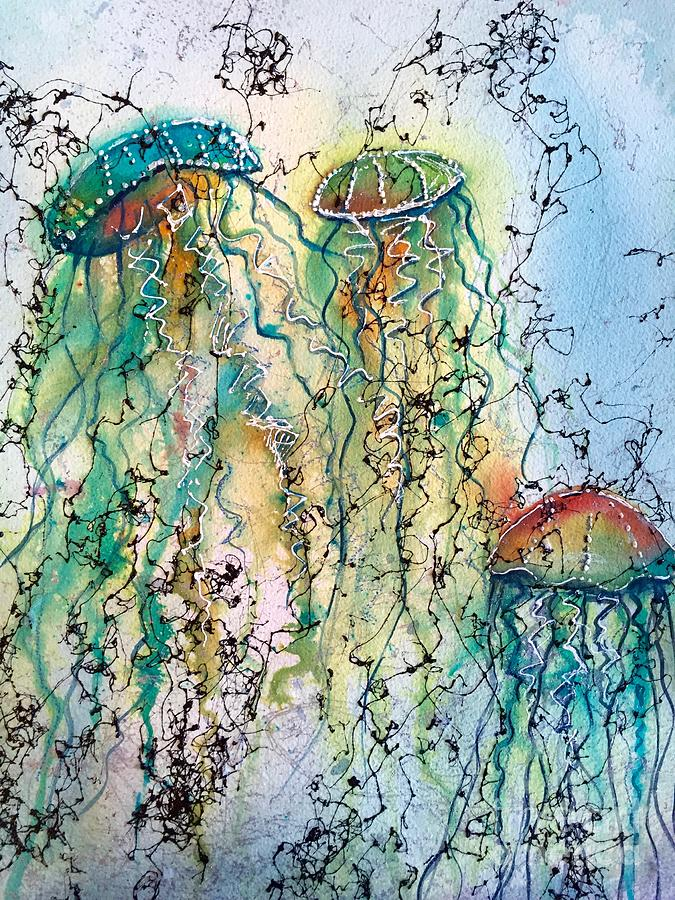 Jellyfish Painting - Jellyfish IIi by Midge Pippel