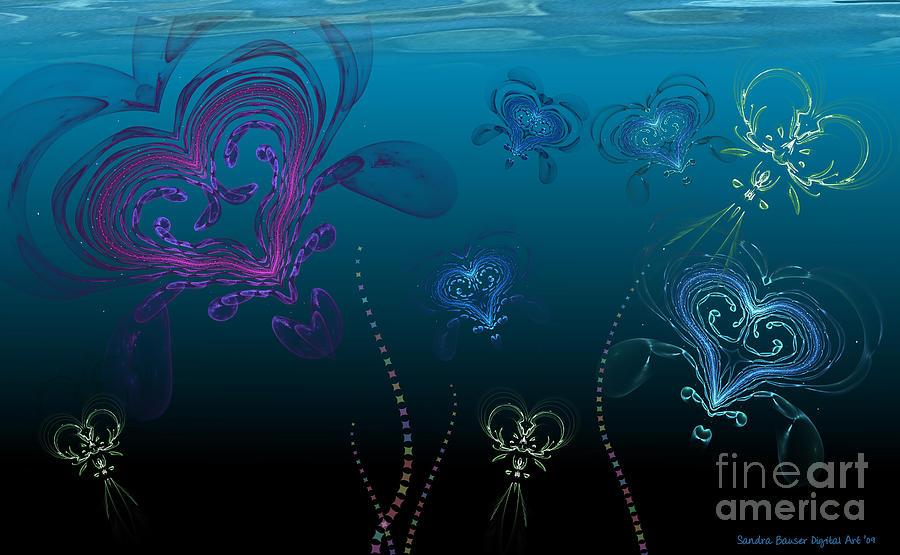 Valentine Digital Art - Jellyfish Love by Sandra Bauser Digital Art