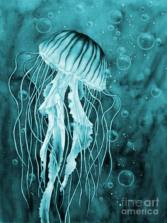 Jellyfish In Blue Painting