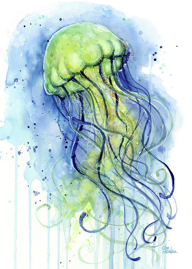 Jellyfish watercolor painting by olga shvartsur for Jelly fish painting