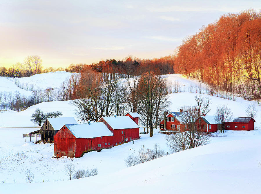Jenne Farm Winter Sunrise by John Vose
