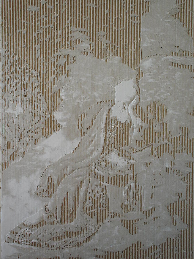 Cardboard Drawing - Jeremia Treurende Over De Verwoesting Van Jeruzalem by Dragan  Despotovic