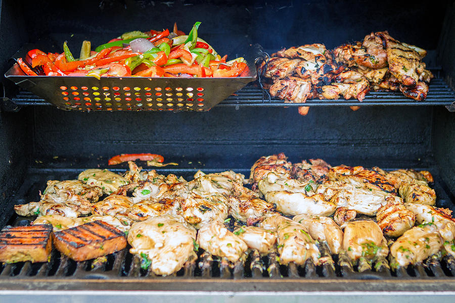 Jerk Chicken and Veggies on Grill by Toni Thomas