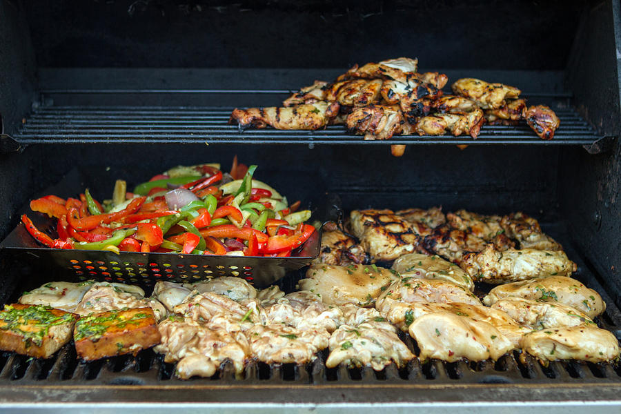 Jerk Chicken with Veggies on Grill by Toni Thomas