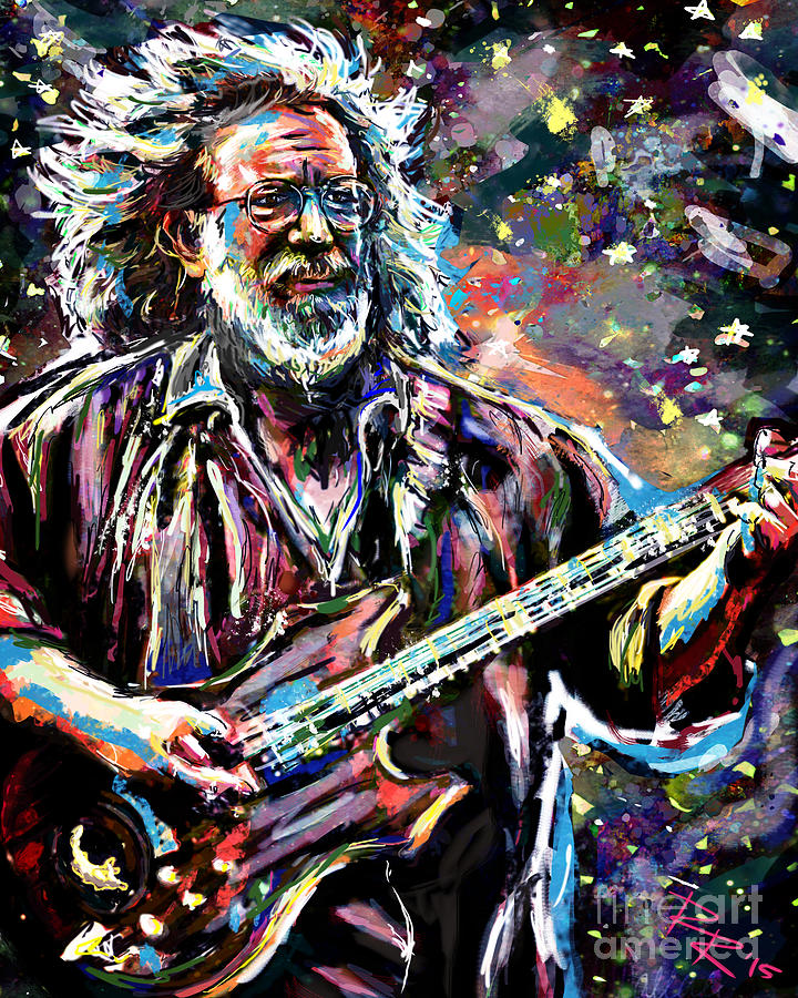 Jerry Garcia Art Grateful Dead Mixed Media by Ryan Rock Artist