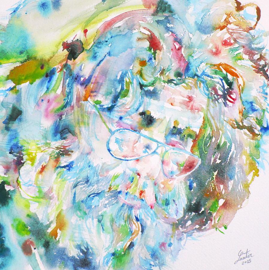 Jerry Garcia Painting - Jerry Garcia - Watercolor Portrait.9 by Fabrizio Cassetta