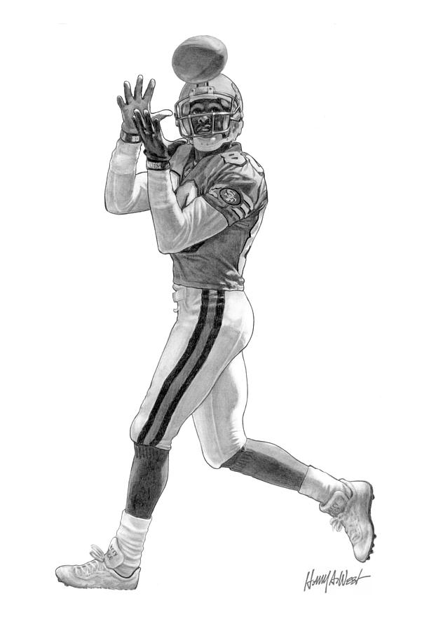 Jerry Rice Drawing - Jerry Rice by Harry West
