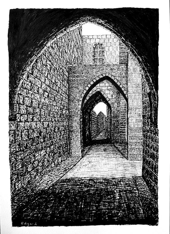 Jerusalem 5 Drawing by Edgard Loepert