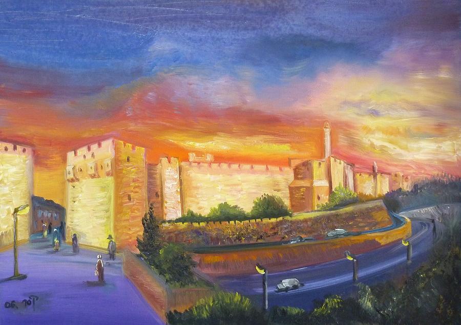 Jerusalem At Night Painting By Sara Kesar