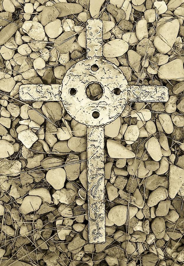 Cross Photograph - Jerusalem Cross In Sepia Tone by Deborah Montana