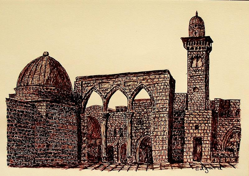 Jerusalem Iv Drawing by Edgard Loepert
