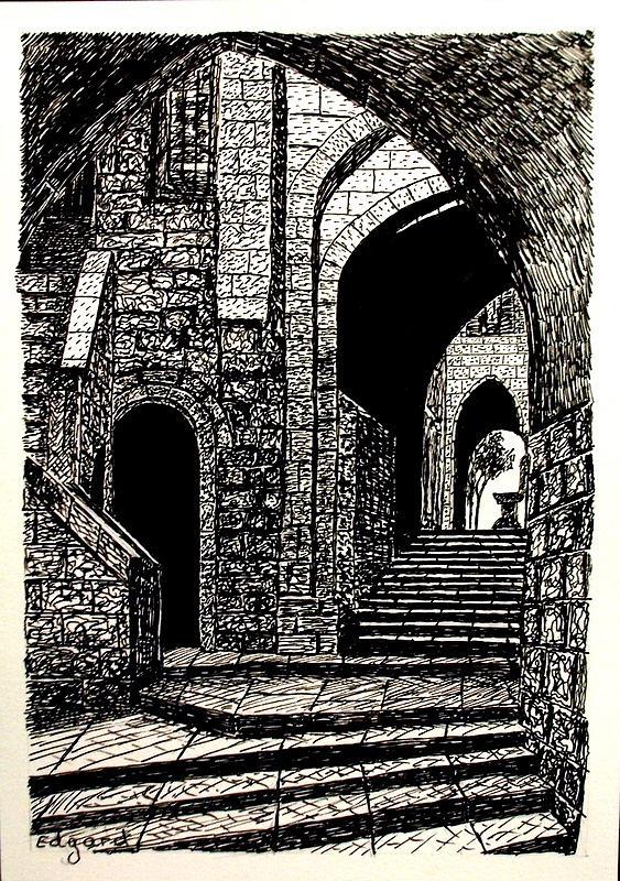 Jerusalem Light And Shadow Drawing by Edgard Loepert
