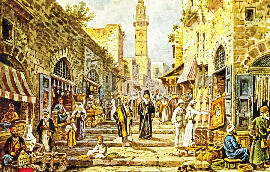 Jerusalem Painting - Jerusalem Old City Street by Munir Alawi