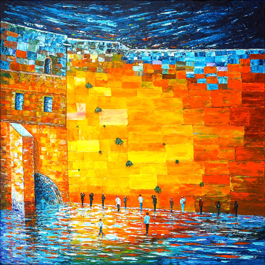 Jerusalem Wailing Wall original acrylic palette knife painting by Georgeta Blanaru