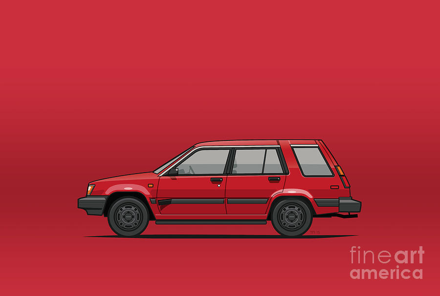 Car Digital Art - Jesse Pinkmans Crappy Red Toyota Tercel Sr5 4wd Wagon Al25 by Monkey Crisis On Mars