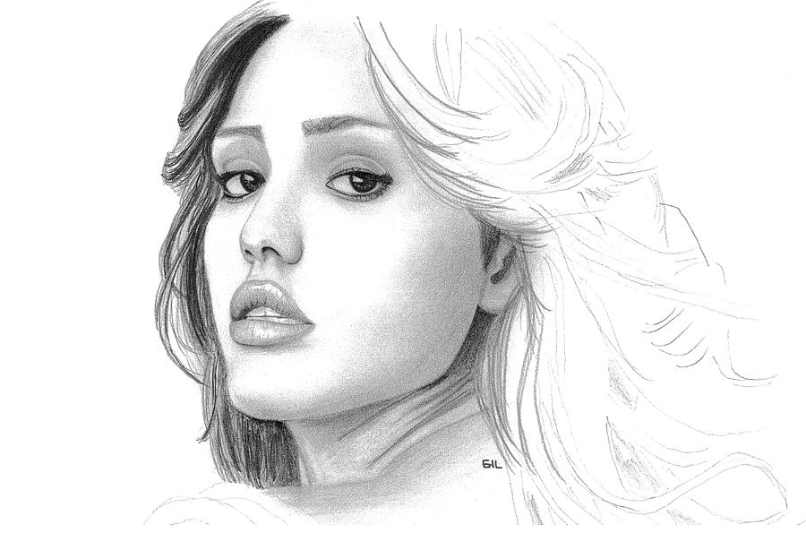 Pencil Drawing - Jessica Alba by Gil Fong