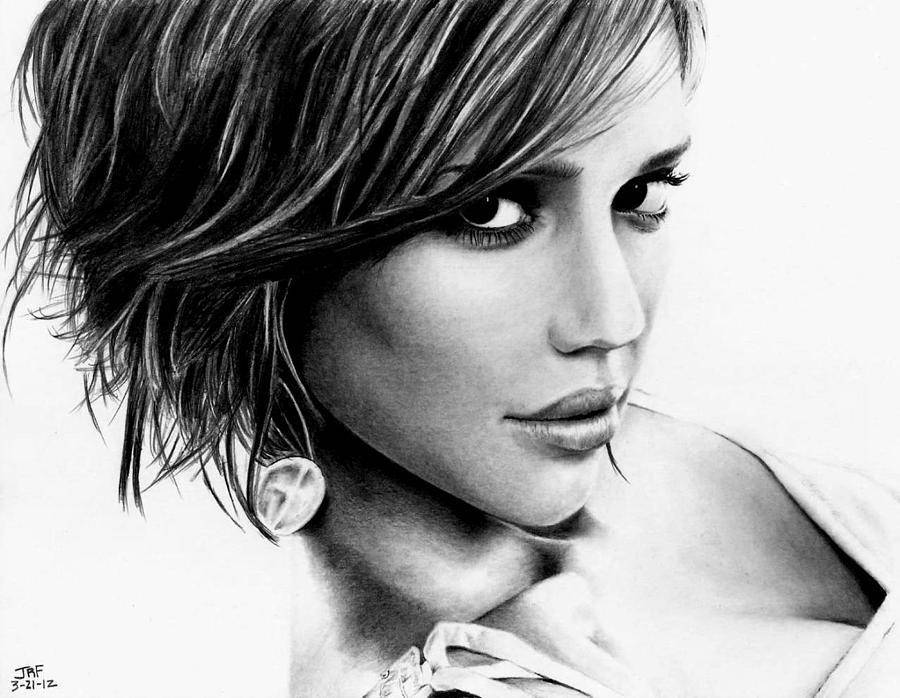 Jessica Alba Drawing - Jessica Alba  by Rick Fortson