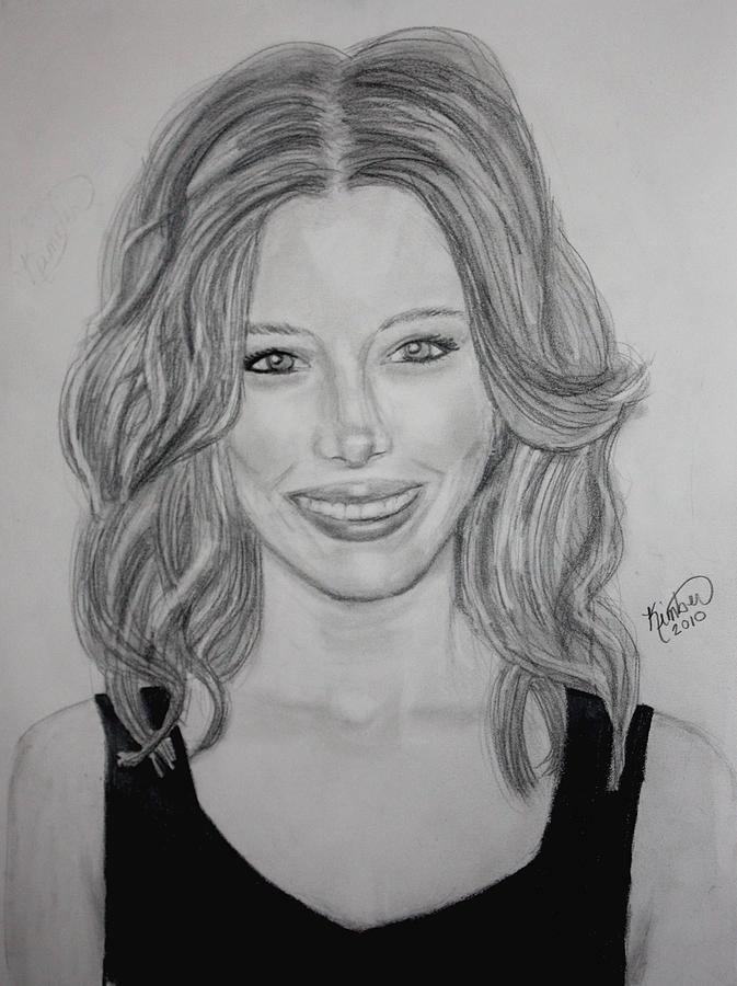 Jessica Biel Drawing - Jessica Biel by Kimber  Butler