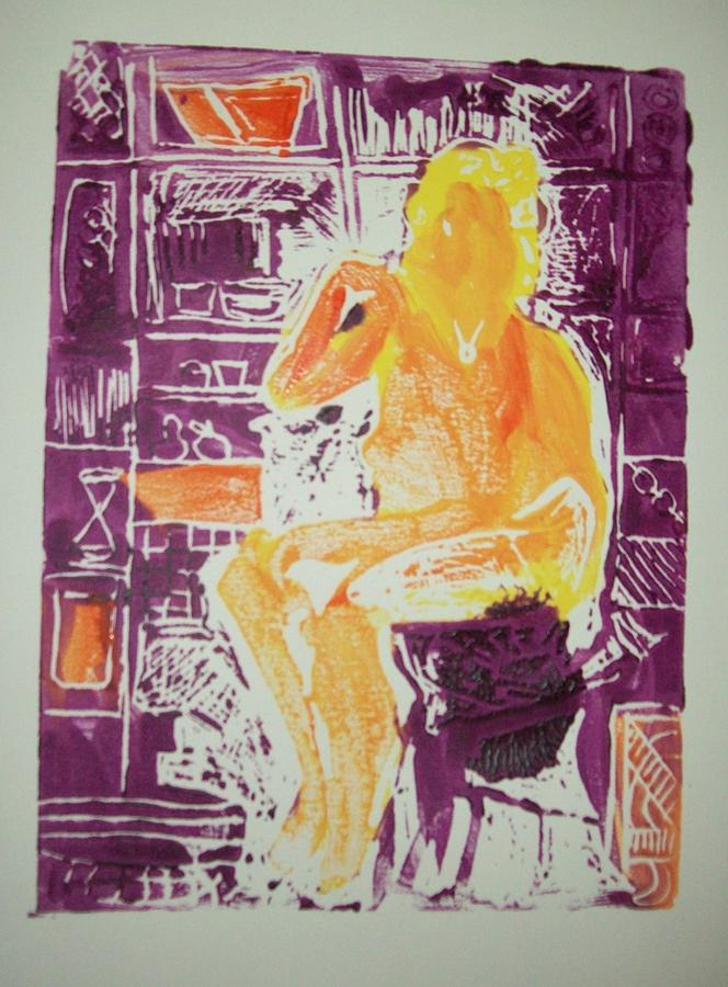 Printmaking Painting - Jessica In My Studio by James Christiansen
