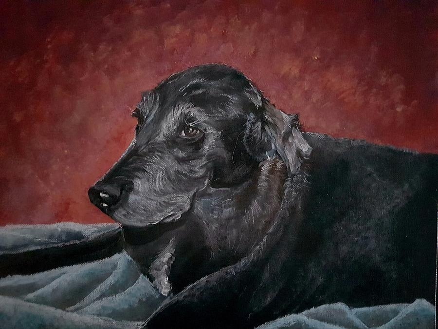 Chocolate Lab Painting - Jessie by Carole Hutchison