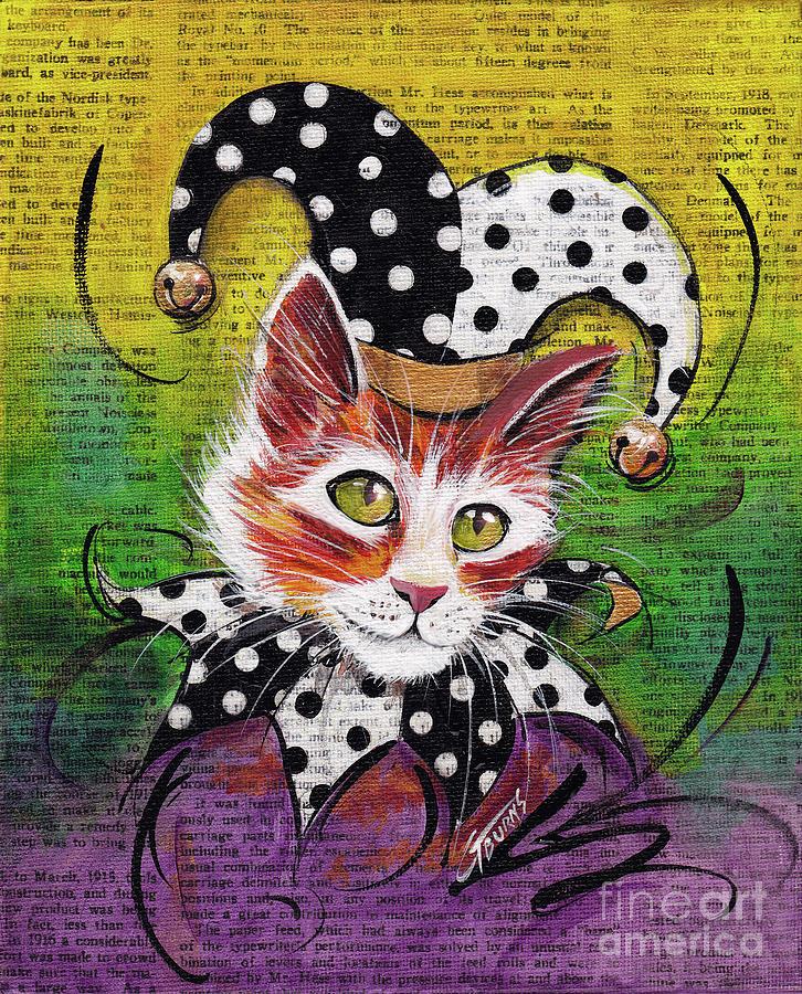 Jester Polka Dot Cat by GG Burns