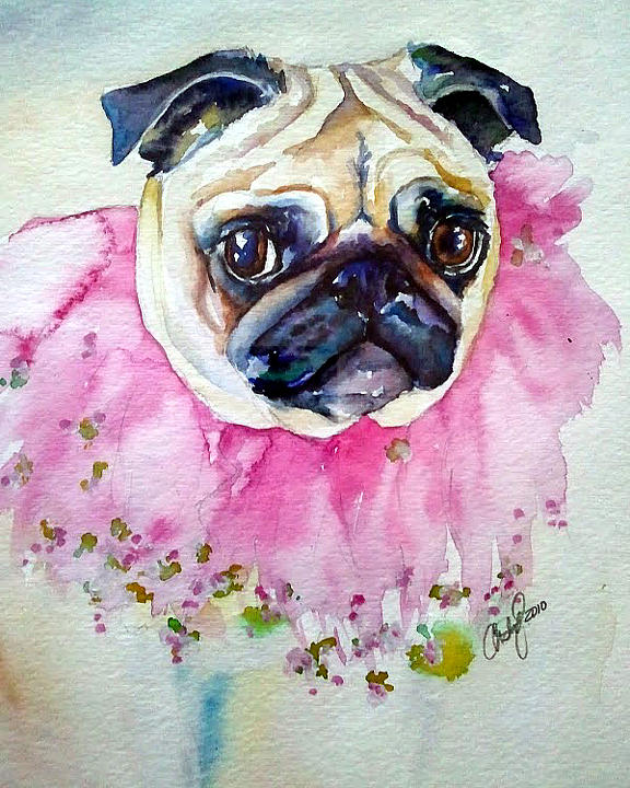 Pug Painting - Jester Pug by Christy  Freeman