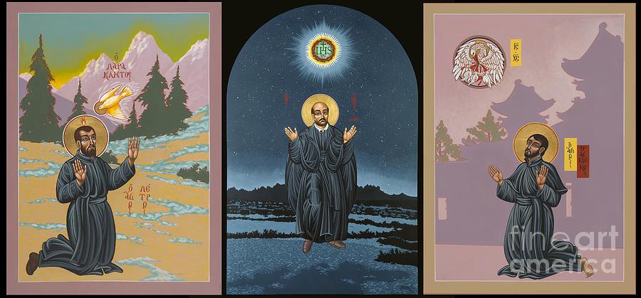 Jesuit Triptych-st Peter Faber-st Ignatius-st Francis Xavier Painting by William Hart McNichols
