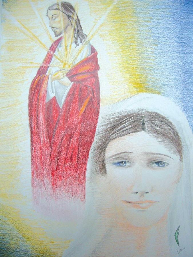 Coloured Drawing - Jesus And Mary by Fabio Turini