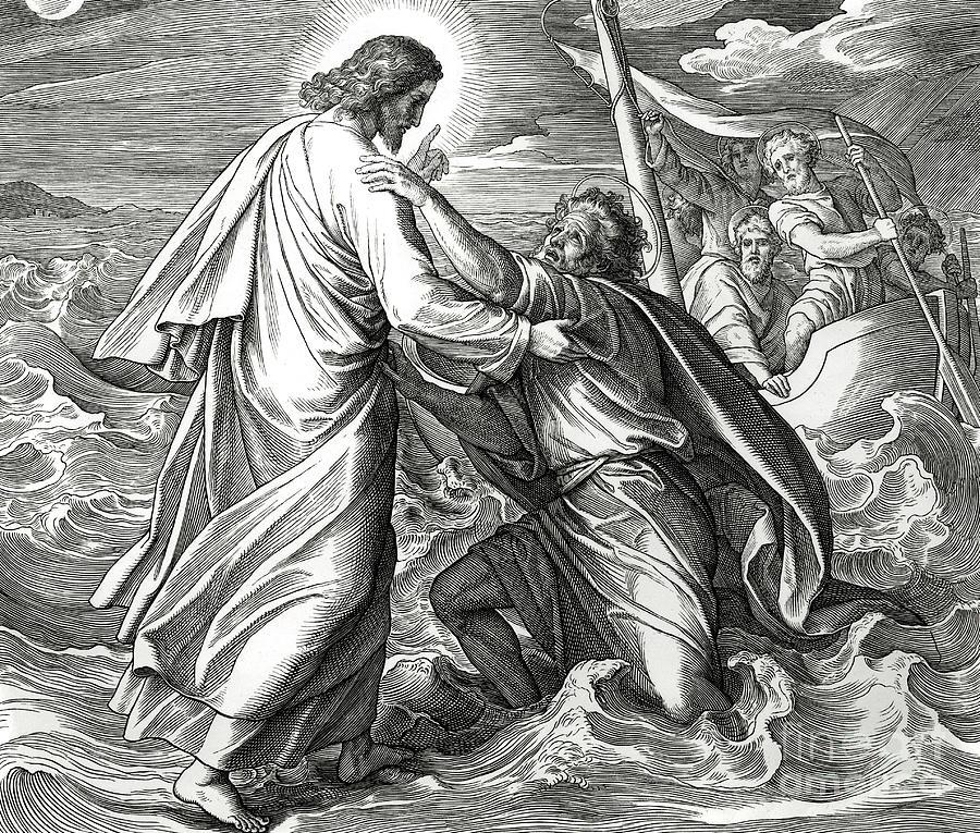 Walks Drawing - Jesus And Peter Walk On Water, Scene From Gospel Of Matthew by Julius Schnorr von Carolsfeld