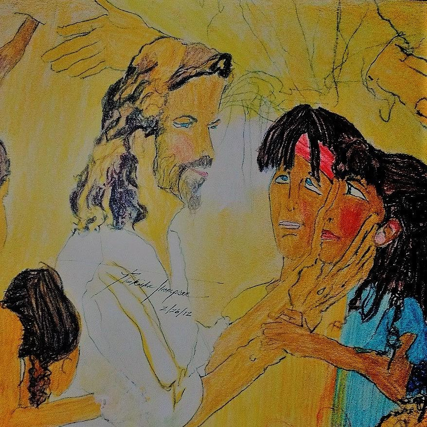 Children Drawing - Jesus And The Children by Love Art Wonders By God