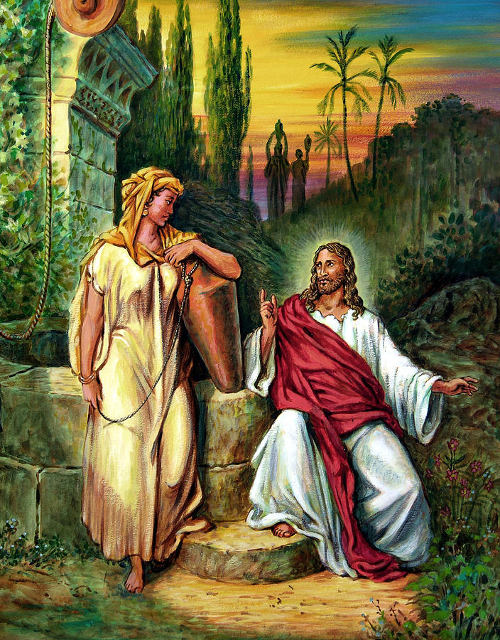 Jesus Painting - Jesus And The Woman At The Well by John Lautermilch