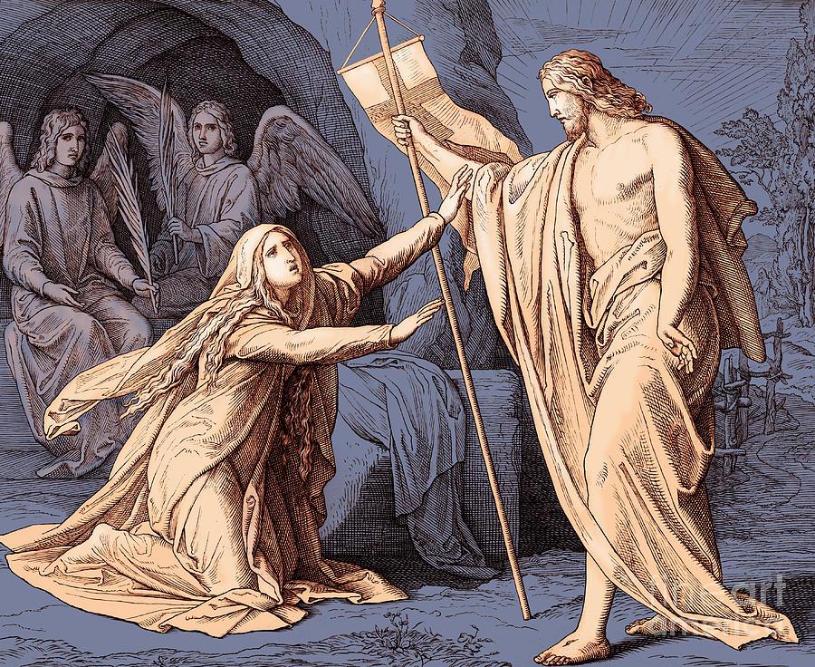 Mary Magdalene Drawing - Jesus Appears To Mary Magdalene, Gospel Of John by Julius Schnorr von Carolsfeld