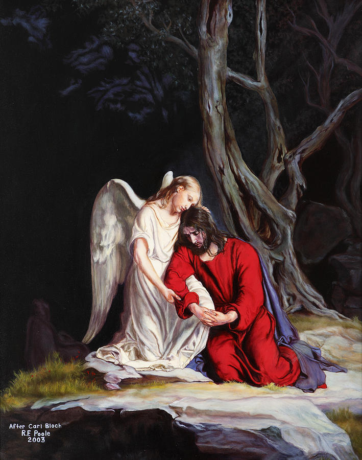 Religious Painting - Jesus At Gethsemane by Rebecca Poole