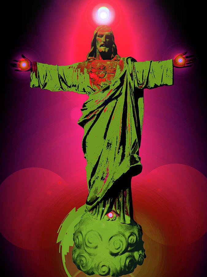 Bible-art Mixed Media - Jesus Bless No. 03 by Ramon Labusch