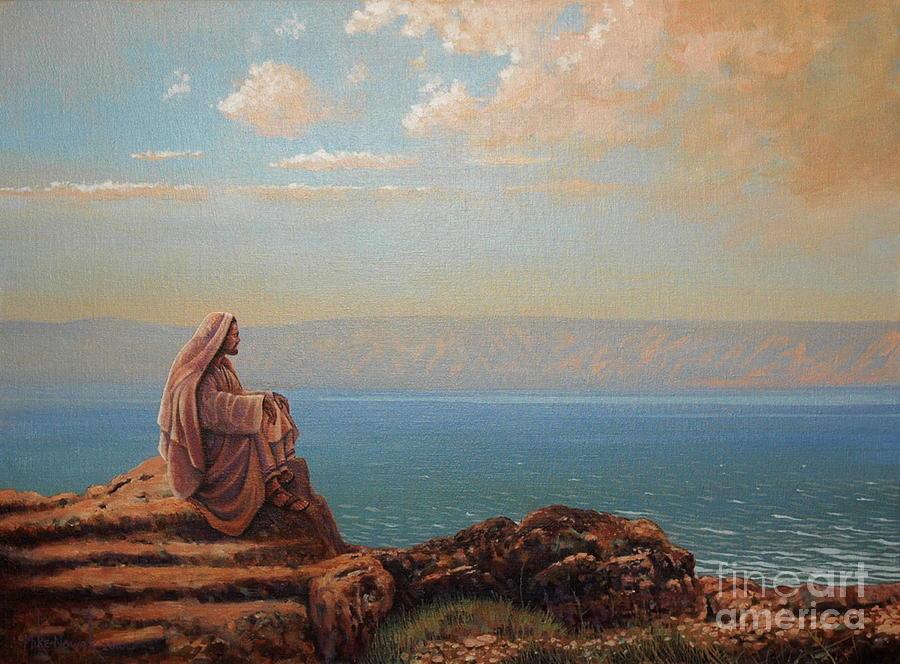Jesus Painting - Jesus By The Sea by Michael Nowak