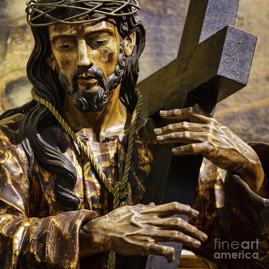jesus carrying cross cathedral cadiz spain photograph by pablo avanzini