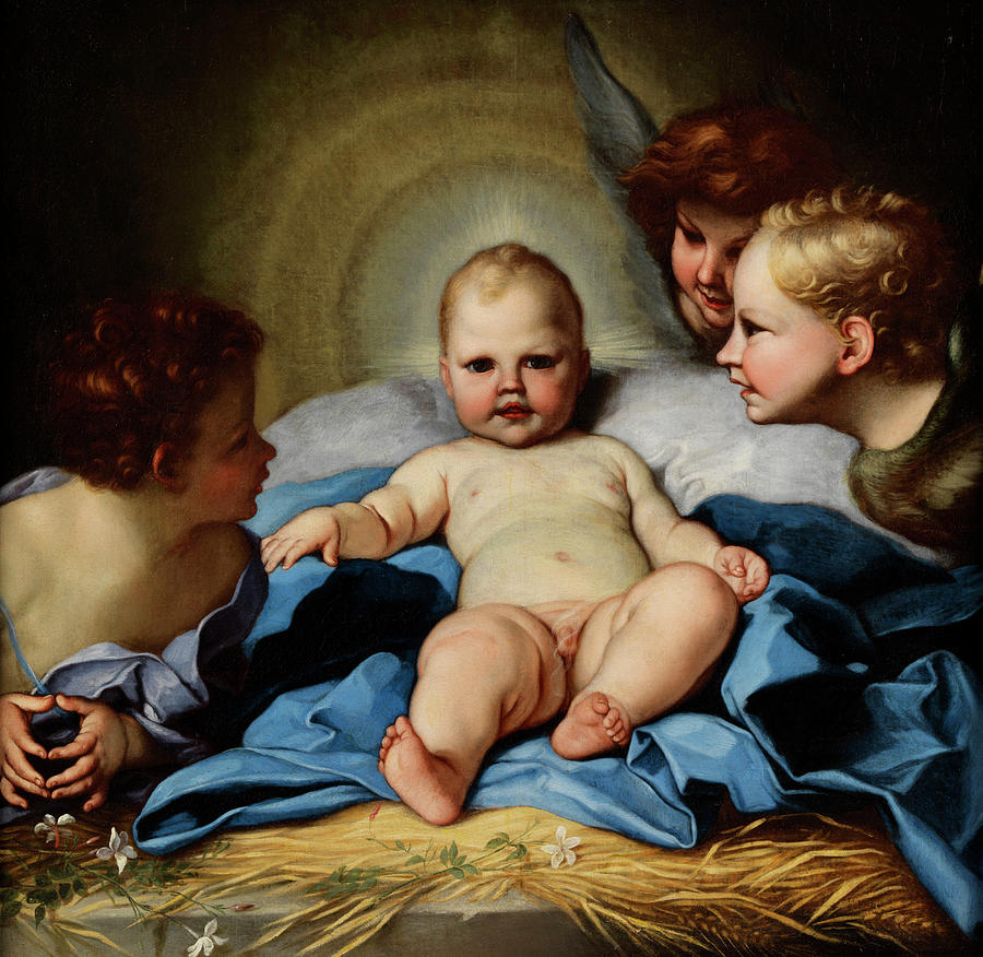 Jesus Child Between John Boys And Two Angels By Carlo Maratta