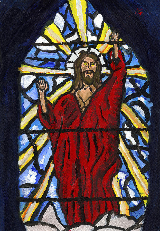 Hope Painting - Jesus Christ Stained Glass by Andrew Broadbent