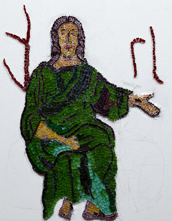 Stained Glass Mosaic Glass Art - Jesus by Emma Kinani