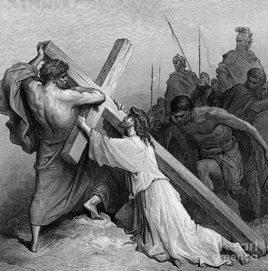 Jesus Falling Beneath The Cross By Gustave Dore Engraved Drawing ...