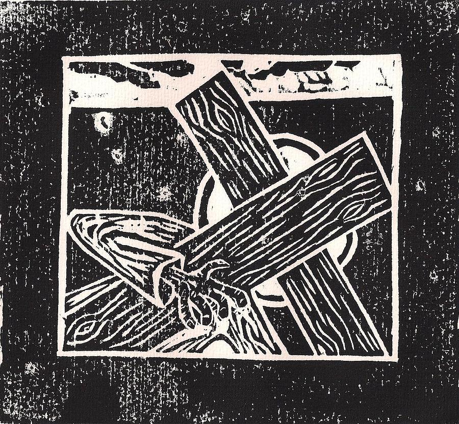 Woodcut Mixed Media - Jesus Falls A Second Time by Lars Lindgren